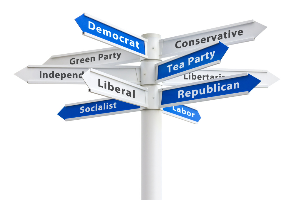 Political Parties Crossroads Sign Democrat and Republican