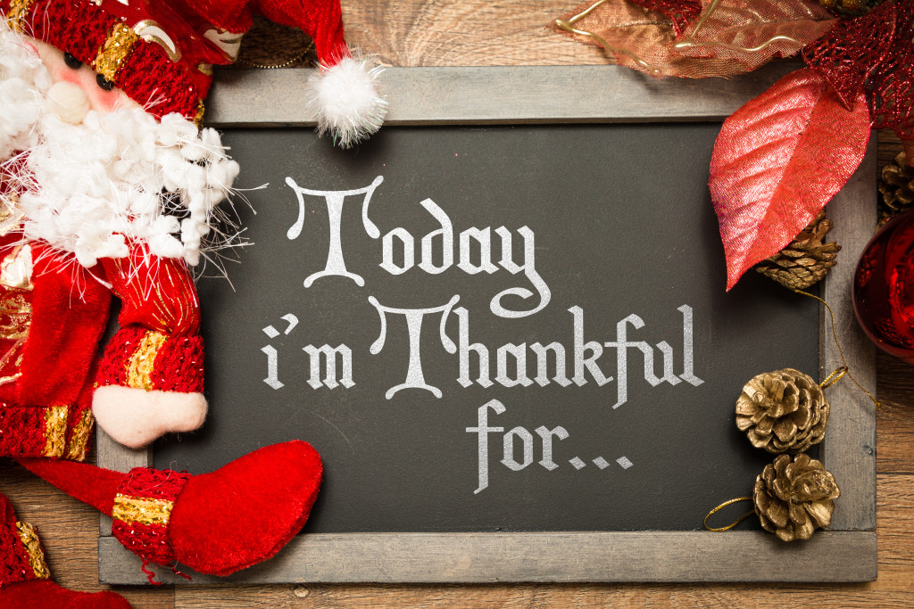 Blackboard with the text: Today Im Thankful For... in a christmas conceptual image